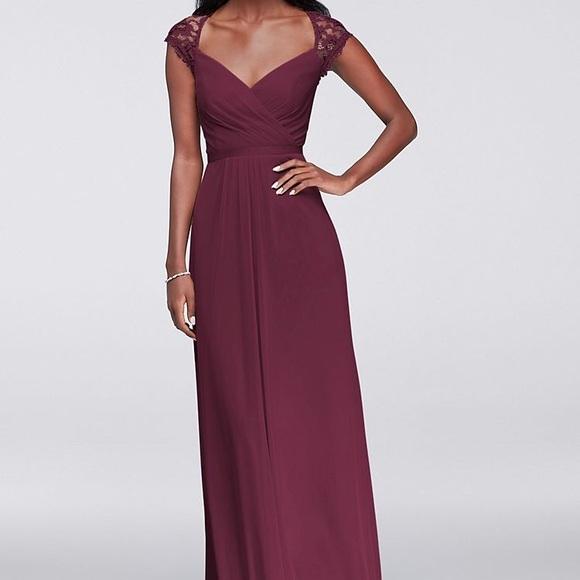 Davids Bridal Bridesmaid Dress F19505 In Wine